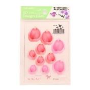 3D flower design film red / pink
