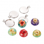 Pandahall 10pcs DIY Jewellery Pendant Making Sets Brass Pendant Trays with Colourful Resin Dome Dried Flower Cabochon Cover, 24x18x2mm, Hole
