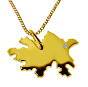 Azerbaijan 50 CM Necklace Pendant with A brilliant 0,015ct your Wunschort in Solid 585 Yellow Gold