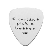 Mother Son Father Son Gifts Charm Guitar Pick - I couldn't Pick a Better Son Stainless Steel
