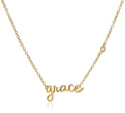 "Shy By Sydney Evan Sterling Silver Yellow Gold Plated ""Grace"" Necklace Diamond Bezel of 41.275cm"