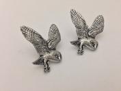 B19 Barn Owl Fine English Pewter Cufflinks Handmade In Sheffield
