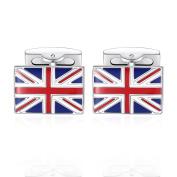 Honey Bear UK Flag Cufflinks For Men, GB United Kingdom British Britain Stainless Steel , For Business Wedding Gift