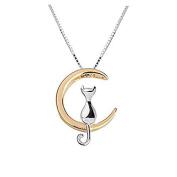 iszie jewellery sterling silver sweet kitten cat on moon necklace,cat lover necklace