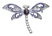 Jodie Rose Purple Enamel Dragonfly Brooch with Crystals and Cats Eye