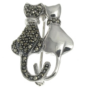 Sterling Silver Marcasite Cats Brooch
