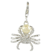 Quiges 925 Sterling Silver White Cubic Zirconia and Imitation Pearl 3D Crab Clip On Charm Pendant