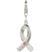 Quiges 925 Sterling Silver Pink Ribbon Cubic Zirconia 3D Clip On Charm Pendant