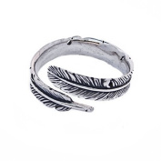 Sterling Silver Adjustable Feather Ring Band L to R