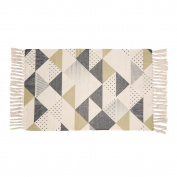 Cotton Printed Rug, Seavish Geometric Non Slip Hand Woven Rag Rug with Grip Low-profile Entryway Thin Floor Mat For Laundry Room Bedroom Dorm, 0.6mx0.9m