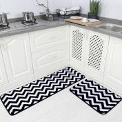 Carvapet 2 Pieces Microfiber Chevron Non-Slip Soft Kitchen Mat Bath Rug Doormat Runner Carpet Set, 43cm x 120cm +43cm x 60cm , Black
