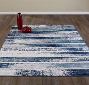 Diagona Designs Contemporary Stripes Design Modern Area Rug, Beige/Navy/Teal, 160cm W x 220cm L