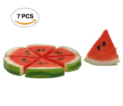 R.FLOWER 7PCS Highly Simulated Watermelon Slices Artificial Lifelike Red Fake Fruits Kids Toy Gift Home Kitchen Decoration Photography Props Mini Pendant