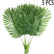 5 Pack Palm Leaves Fake Faux Artificial Plant Leaves Green Single Leaf Palm for Home Kitchen Party Supplies Tropical Leaves Decorations - Warmter