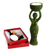 Nurturing Goddess Statue and Tealight Candles Holder Includes 2 Tealights and 3 Assorted Healing Stones in a Drawstring Velvet Pouch bundle by Imprints Plus