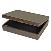 Old World Wood Treasure Box with Brass Latch - Black Stained