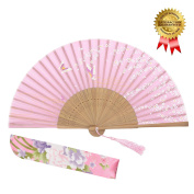 "OMyTea 8.27""(21cm) Women Hand Held Silk Folding Fans with Bamboo Frame - With a Fabric Sleeve for Protection for Gifts - Chinese / Japanese Style Butterflies and Willow Pattern"