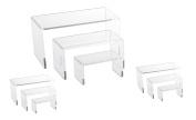 9 Piece Set - Clear Acrylic Display Risers, Acrylic Clear Riser Set