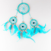 Blue Dream Catcher Hanging Décor with Feather Beads, Handmade Decoration for Wall Hanging, Car Decor, Indian Style Ornament, 34cm Long