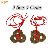Chinese Feng Shui Coins for Wealth and Success - 3 sets of 3
