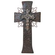 36cm Elegant Large Embossed Brown Metal and Ceramic Cross on Cross Home Wall Decor 50cm x 38cm