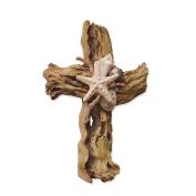 "Enesco Where the Heart Is by Gregg Gift Driftwood Seashells Cross Stone Resin Wall Décor, 9.25"""