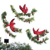 Cardinal & Pine Solar Outdoor Christmas Decoration