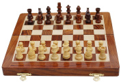 Craftgasmic Folding Magnetic Chess and Pieces, Set Wooden Board Travel Games 25cm