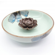 TrendBox Ceramic Handmade Artistic Incense Holder Burner Stick Coil Lotus Ash Catcher Buddhist Water Lily Plate - One Hole Pale Green