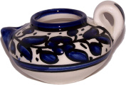 Oil Lamp - Ceramic painted by hand ( 10cm ) with wicks for burning - - Asfour Outlet Trademark