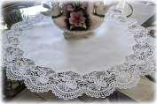 Large Doily ROYAL ROSE European Lace White Topper Dresser Scarf 60cm Round