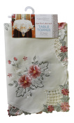 """Embroidered Table Topper Floral 36"""" Square (91cm x 91cm)"""
