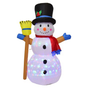 Tangkula 1.2m Inflatable Snowman In/Outdoor LED Airblown Yard Holiday Decoration Colourful Snowman with Hat