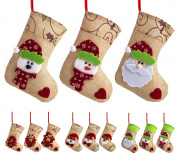SANNO 19cm Mini Burlap Christmas Stockings, Hanging Craft Socks Christmas Tree Decor Hanging Rustic Ornaments Santa Snowman Love Ornament, 3 Pcs
