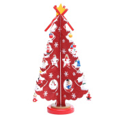 36cm Wooden Tabletop Christmas Tree with 28 Mini Ornaments for Christmas Decorations