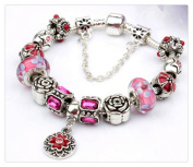 Classic crystal Charms Hand-painted Flower Glass Bead Bracelets Jewellery