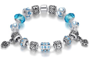 Classic Vintage Silver Hand-painted Flower Glass Bead Bracelets Jewellery