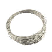 "NBEADS 100 Strands of Stainless Steel Wire Necklace Cord with Brass Screw Clasp for DIY Jewellery Making,Dark Grey,17.5""x1mm"