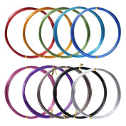 10 Rolls Assorted Colours Aluminium Craft Wire for DIY Craft, 1 mm in Diameter, 5 Metres Long