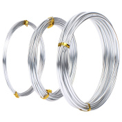 Assorted Sized Aluminium Wire, 1 mm, 2 mm and 3 mm in Diameter, 5 Metres Each, Silver Colour, 3 Pieces