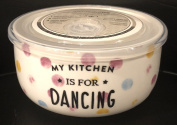Ciroa Microwaveme Fine Porcelain Microwave Bowl with Silicone Seal 13cm X 7cm Deep MY KITCHEN IS FOR DANCING Dishwasher Safe