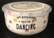 Ciroa Microwaveme Fine Porcelain Microwave Bowl with Silicone Seal 15cm X 8.3cm Deep MY KITCHEN IS FOR DANCING Dishwasher Safe