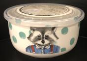 Ciroa Microwaveme Fine Porcelain Microwave Bowl with Silicone Seal 15cm X 8.3cm Deep RACCOON Dishwasher Safe