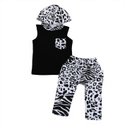 CHshe Baby Spot Clothing Set, 2Pcs Newborn Toddler Boys Pocket Hooded Vest+Pant Outfit For 1-4 Years