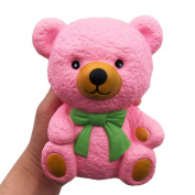 Masrin Lovely Cartoon Cute Pink Bear Squishy Slow Rising Cream Scented Valentine's Gift Pluffy Soft Toy