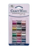 Pack of 12 - 0.41mm x 4.6m Mixed Colour Craft Wire - 26 gauge