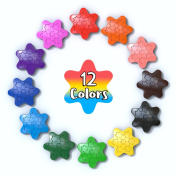 JamBer 12 Colours Snowflake Crayons Paint Crayons for Child, Safe & Non-Toxic