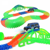 Ocamo Baby Fluorescent Assembly Racing Track Car Accessories Puzzle Building Blocks Toys as Gifts Best Gift