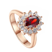 Youkara Vintage Red Zircon Rose Gold-plated Engagement Ring for Teen Girls Women