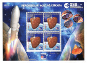Space rocket Ariane and probe mint stamp sheet featuring four identical stamps representing space probe. Nice space topical sheet – Madagascar / 1999 / 4 stamps